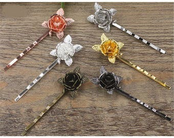 2 hair pins pink gold color and flower decoration, length 55mm