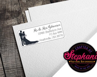 Business cards custom pdfs address labels more by mediadogz return address mailing label standard size love wedding couple silhouette elegant classy pdf print from home easy to edit customize reheart Images