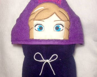 Girly Hooded Towel, Personalized Hooded Towel, Kids Personalized Towel, Ice Princess Hooded Towel, Ice Princess Sister Hooded Towel, Kids