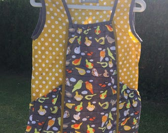 Size 5-6 years 2 big pockets cotton dress tunic pattern birds and dots color grey and mustard yellow
