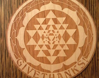 """Wooden """"Give Thanks!"""" Sri Yantra Coasters"""