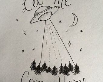 UFO Pen and Ink Print