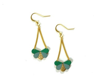Butterfly earrings in green, greyish blue and gold