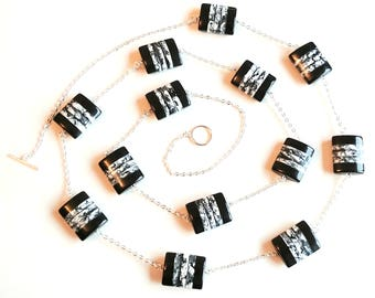Longline Monochrome Chain Necklace, Monochrome Necklace, Mothers Day Gift, Gifts for Her, Valentines Gift, Longline Necklace, Monochrome