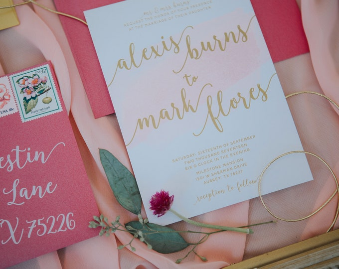 Hot Pink and Gold Water Color Wedding Invitation — Envelope Liner, RSVP and Envelope Address Printing