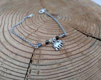 Silver Elephant Bracelet with beads