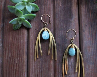 Rainbows in the Sky Earrings - Blue Amazonite Stone Earrings - Brass Statement Earrings - Artisan Tangleweeds Jewelry