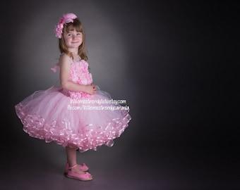 Pink Ribbon Tutu Dress, Pink Couture Tutu Dress, Ribbon Trim Tutu Dress, Pink Tutu Dress, Couture Ribbon Trim Tutu, Pink Flower Tutu Dress