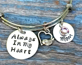 Memorial  Bracelet, Remembrance Jewelry, Always in my Heart, Memorial Jewelry, Mom Memorial, Dad Memorial, Memory Jewelry, Loss of loved one