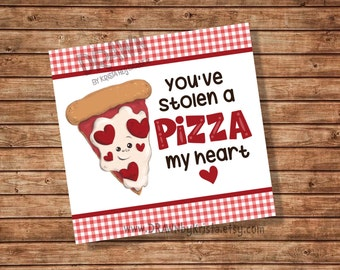 """You've Stolen a PIZZA my heart! Valentine's Day Tag sized 3.5"""" x 3.3 Cookie Pizza Box Sized- PR8-PIZBOX"""