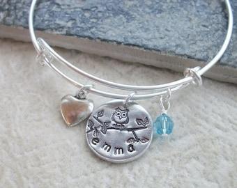Personalized Owl Adjustable Bangle Bracelet - Handstamped Aluminum Seal - Swarovski Birthstone Crystal - Bridal Party Gift