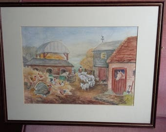 Original Watercolour 'The Farm' Sheep Turkeys Painting Picture.