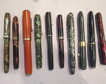 SALE   lot of 10 vintage fountain pens