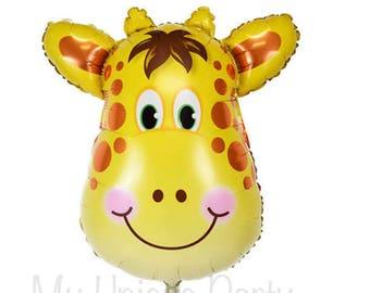 """Giraffe Balloon Large Giraffe Face Balloon 32"""" Mylar Balloon Zoo Animals Safari Party Circus Party Baby Shower"""