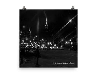 New York City black and white photographic print, City That Never Sleeps, NYC skyline and street at night