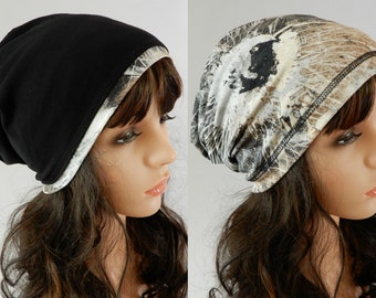 Jersey beanie women Reversible beanie Hat for women Chemo hat Viscose beanie cap Womens beanie headcover stretch S-L