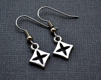 Silver Diamonds with Cross Cutouts . Earrings
