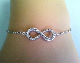 Infinity Love Bracelet, Cubics blacelet,Friendship bracelet, Charm Bracelet, wedding bracelet,graduation gift
