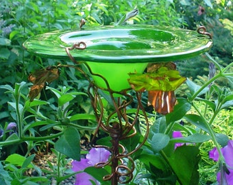 FATHER'S DAY Gift, stained glass Butterfly FEEDER, Chartreuse Green, copper, garden stake