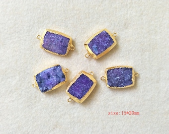 5 pcs Natural purple Agate Special Rectangle Back Front Facted Gold Plated Titanium AB Druzy Connector  Drusy Gemstone Jewelry Making CT08
