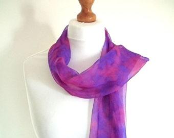 Shibori Silk Chiffon Scarf, Long, Hand-dyed, 100% Silk, Blue, Violet, Fuchsia, OOAK, UK Seller