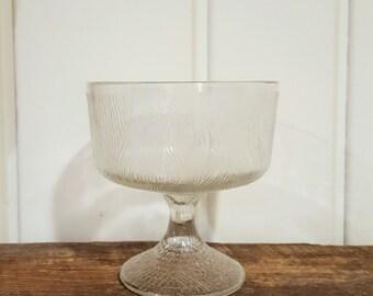 Hoosier Glass Faux Bois Pedestal Bowl Vintage Footed  Faux Woodgrain Dish
