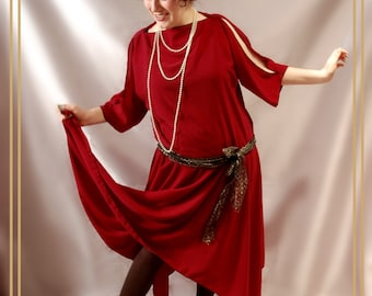 Plus Size Deep Red Flapper 1920s Dresses