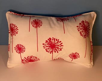 """20x13"""" Decorative Corded Pillow Cover - Bright Pink and White"""