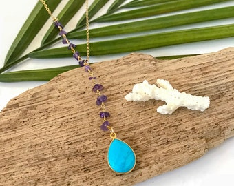 New! // Beaded Turquoise Amethyst Lariat Necklace