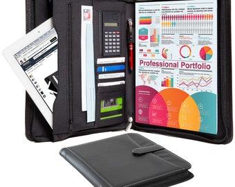 Leather Portfolio – Professional Business Zippered Portfolio - Pebble Leather Padfolio Organizer, A4 Notepad, iPad Holder & Outside Pocket