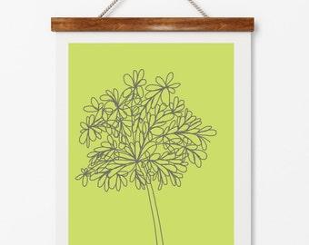Floral illustration on green, modern botanical, modern rustic design, rustic lodge interiors,  digital download, instant art, home decor
