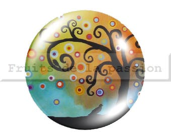 1 cabochon 30mm, nature, trees, multicolored, round glass