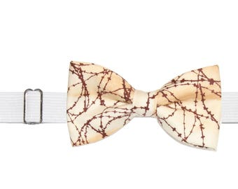 Men's Barbed Wire Fence Pre-Tied Cotton Bow Tie On Adjustable Twill Strap