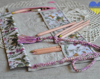 Roll up Pencil Case, Waldorf Pencil Roll, Stockmar Pencil Roll, Fabric Pencil Case, Pencil Holder, Planner Pouch, Pen Roll, Pencil Roll