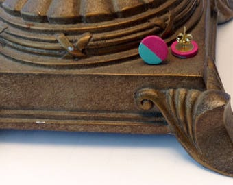 Hot Pink and Teal Stud Earrings