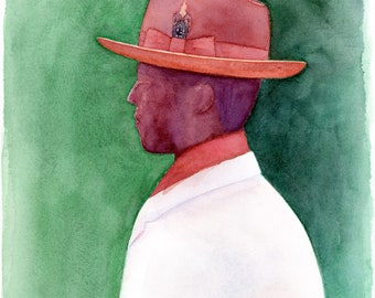"Old School Hat - 8x10"" Matted Watercolor Art Print"