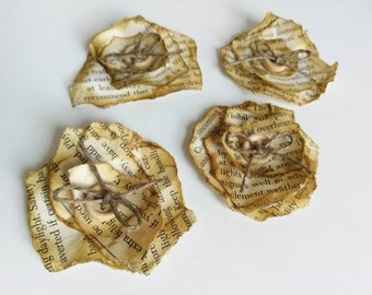 Torn paper flower embellishment / brown / collage / distressed / book pages / mixed media / altered art / assemblage supplies / journals