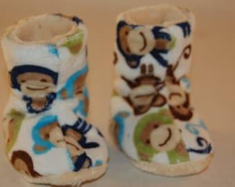 Boy Monkey Minky boy Slippers -  Boy Slippers - Liner warm cuddle minky
