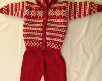 Norwegian Handknitted Wool Jacket and Trousers- Fana 2 yrs