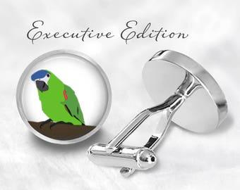 Green Parrot Cufflinks - Parrot Cufflinks - Bird Cuff Links (Pair) Lifetime Guarantee (S1008)