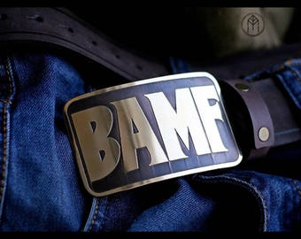 Leather belt with brass buckle BAMF  (Mccree's belt)