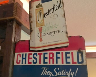 Vintage Chesterfield and L&M Double Sided Cigarette / Tobacco Flange Metal / Tin Advertising Sign*