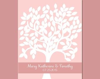 Pink Wedding, Wedding Guest Signature Tree, Signature Tree with 100 Leaves,  Wedding Tree Signature Guestbook, Personalized Wedding Decor