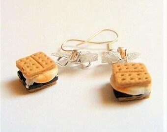 Food Jewelry Smores Earrings, Miniature Food Earrings, biscuit Jewelry, Mini Food earrings, Kawaii Earrings, Smores Jewelry, Cookie Earrings