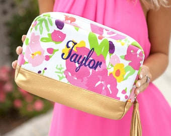 PRE-Order for JUNE Delivery Floral Cabana Cosmetic Bag, Personalized Gifts, adorable, it's about the details, beautiful playful print!