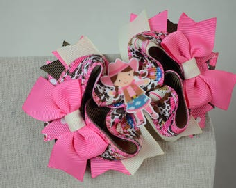 Little Cowgirl Boutique Stacked Hair Bow Down On The Farm