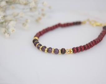 Wood Bead Bracelet,  Purple Bracelet, Red Bracelet, Red Wood Bracelet, Wooden Bracelet, Simple Bracelet, Boho Bracelet, Bohemian, Minimalist
