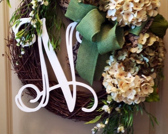 Green & Cream Hydrangea Wreath-Summer Wreath-Autumn Wreath-Front Door Initial Wreath-Chevron Burlap-Thank You-Front door wreath-Gifts