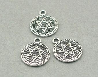 Star of David Disc Charms Antique Silver 6pcs zinc alloy beads 15mm CM0806S