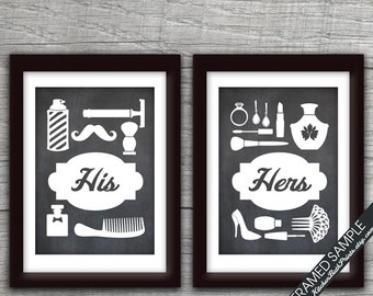 His and Hers Bathroom Prints (series B) - Set of 2 - Art Print (Featured in Blackboard) Customizable Bathroom Prints